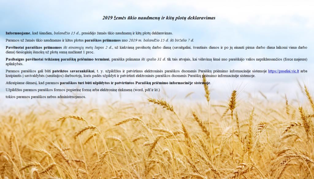 Prasidėjo 2019 m. žemės ūkio naudmenų ir kitų plotų deklaravimas
